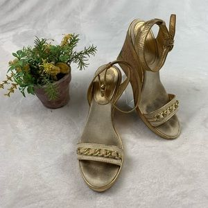 Coach Women's Wedge Strap Heels Gold Floral